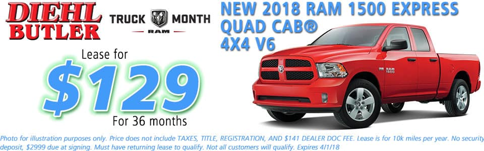 NEW 2018 RAM 1500 EXPRESS QUAD CAB® 4X4 diehl chrysler jeep dodge ram serving butler cranberry mars saxonburg and pittsburgh