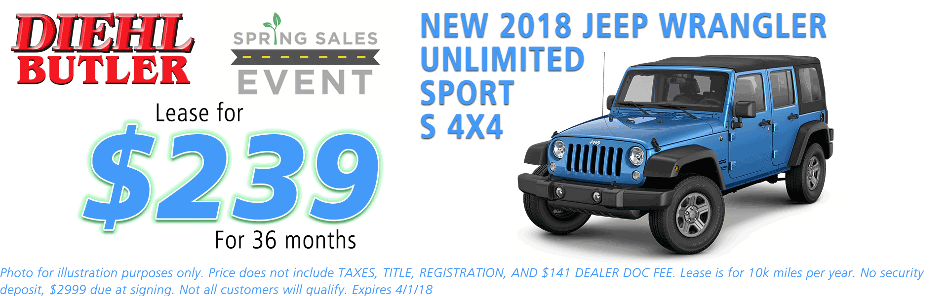 NEW 2018 JEEP WRANGLER UNLIMITED SPORT S 4X4 diehl chrysler jeep dodge ram serving butler cranberry mars saxonburg and pittsburgh