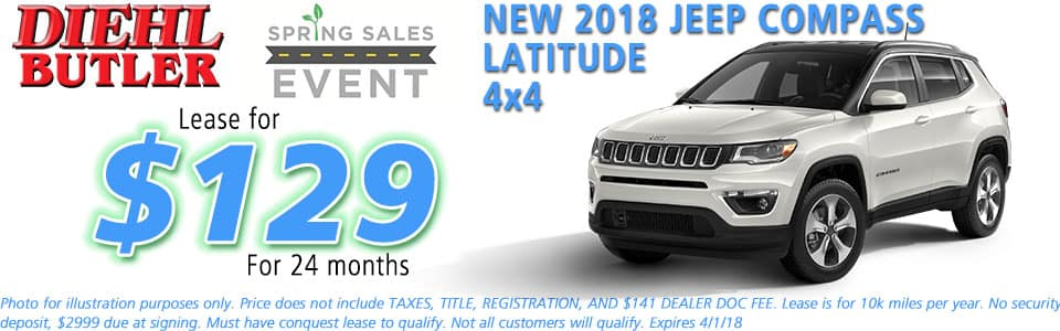 NEW 2018 JEEP COMPASS LATITUDE 4X4 diehl chrysler jeep dodge ram serving butler cranberry mars saxonburg and pittsburgh