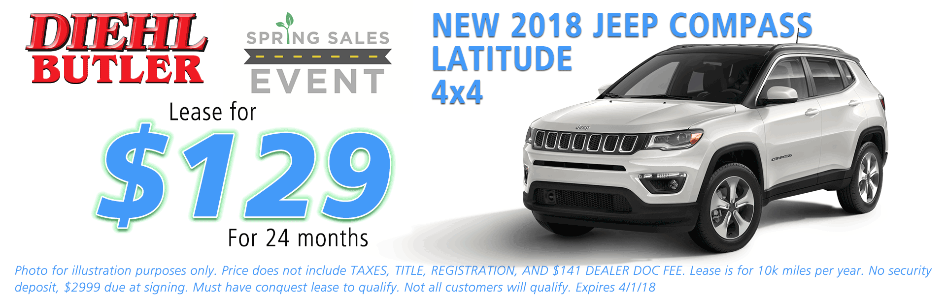 NEW 2018 JEEP COMPASS LATITUDE 4X4 diehl chrysler jeep dodge ram serving butler cranberry mars saxonburg and pittsburgh