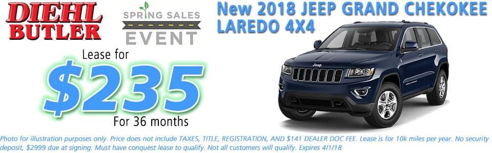 NEW 2018 JEEP GRAND CHEROKEE LAREDO E 4X4 diehl chrysler jeep dodge ram serving butler cranberry mars saxonburg and pittsburgh