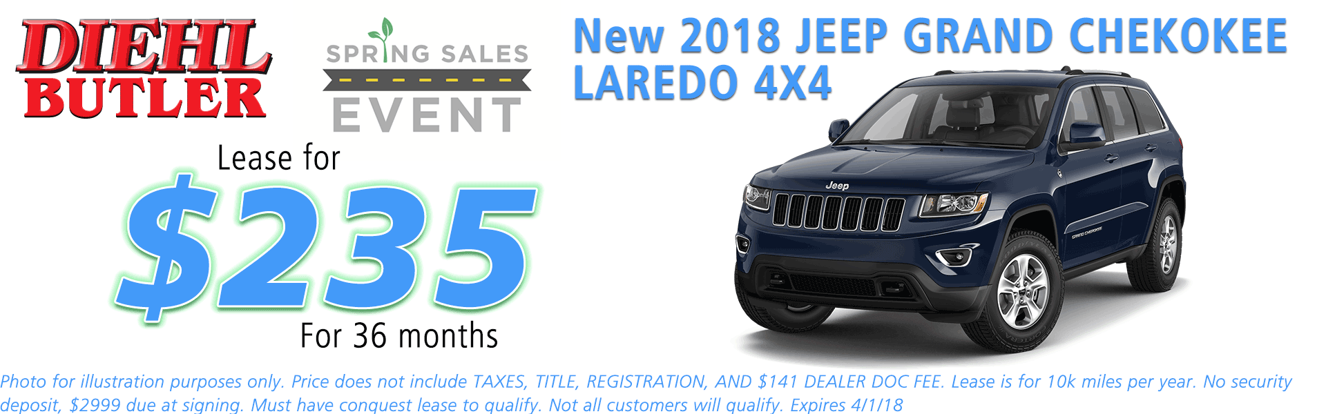 NEW 2018 JEEP GRAND CHEROKEE LAREDO E 4X4 diehl chrysler jeep dodge ram serving butler cranberry mars saxonburg and pittsburgh