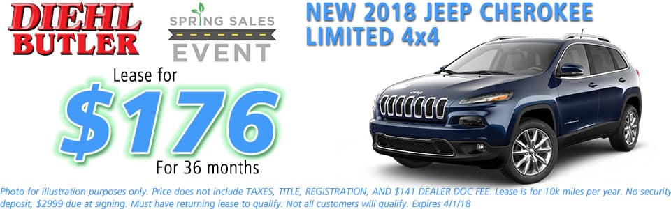 NEW 2018 JEEP CHEROKEE LIMITED 4X4 diehl chrysler jeep dodge ram serving butler cranberry mars saxonburg and pittsburgh