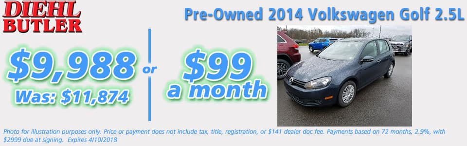 PRE-OWNED 2014 VOLKSWAGEN GOLF 2.5L Diehl butler serving butler cranberry mars saxonburg and pittsburgh