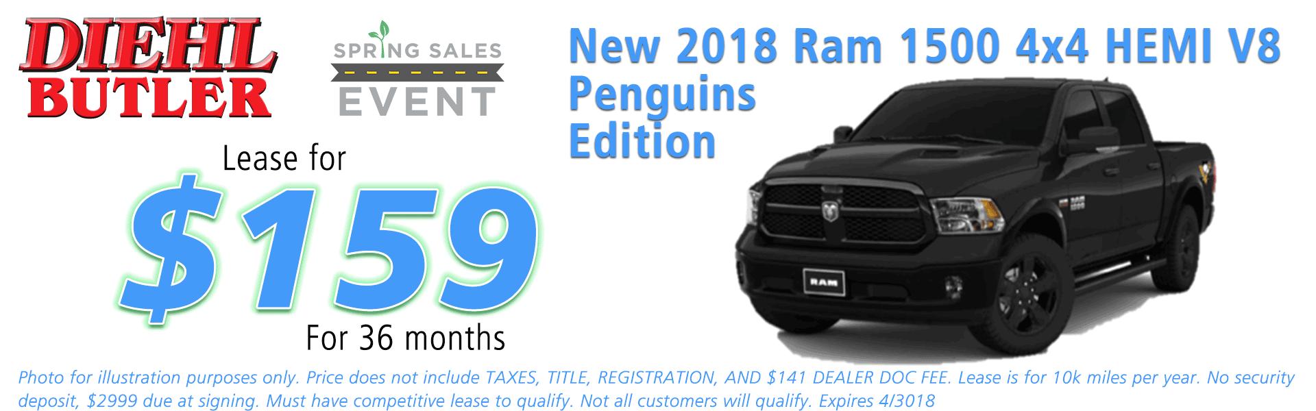 NEW 2018 RAM 1500 EXPRESS CREW CAB 4X4 5'7 BOX official penguins ram truck Diehl of Butler Chrysler Jeep Dodge Ram Toyota Volkswagen 258 Pittsburgh Road Butler PA 16002