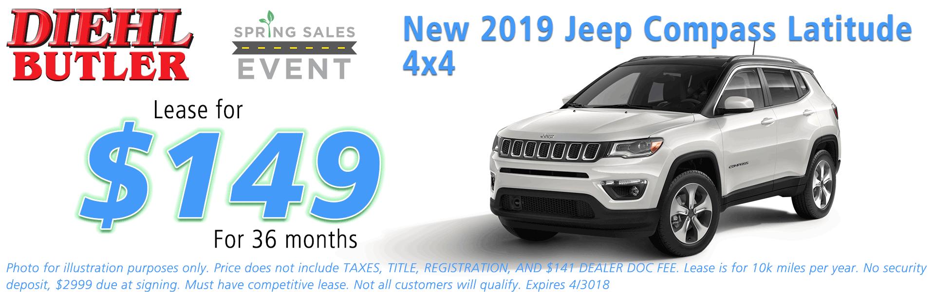 NEW 2018 JEEP COMPASS LATITUDE 4X4 Diehl of Butler Chrysler Jeep Dodge Ram Toyota Volkswagen 258 Pittsburgh Road Butler PA 16002