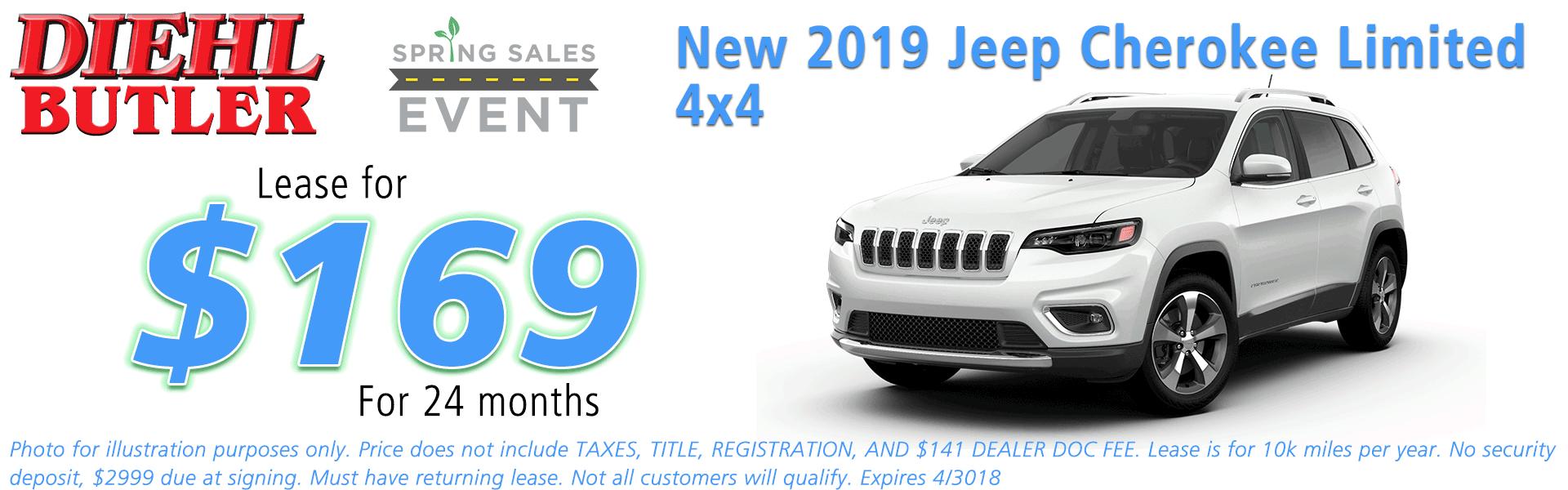 NEW 2019 JEEP CHEROKEE LIMITED 4X4 Diehl of Butler Chrysler Jeep Dodge Ram Toyota Volkswagen 258 Pittsburgh Road Butler PA 16002