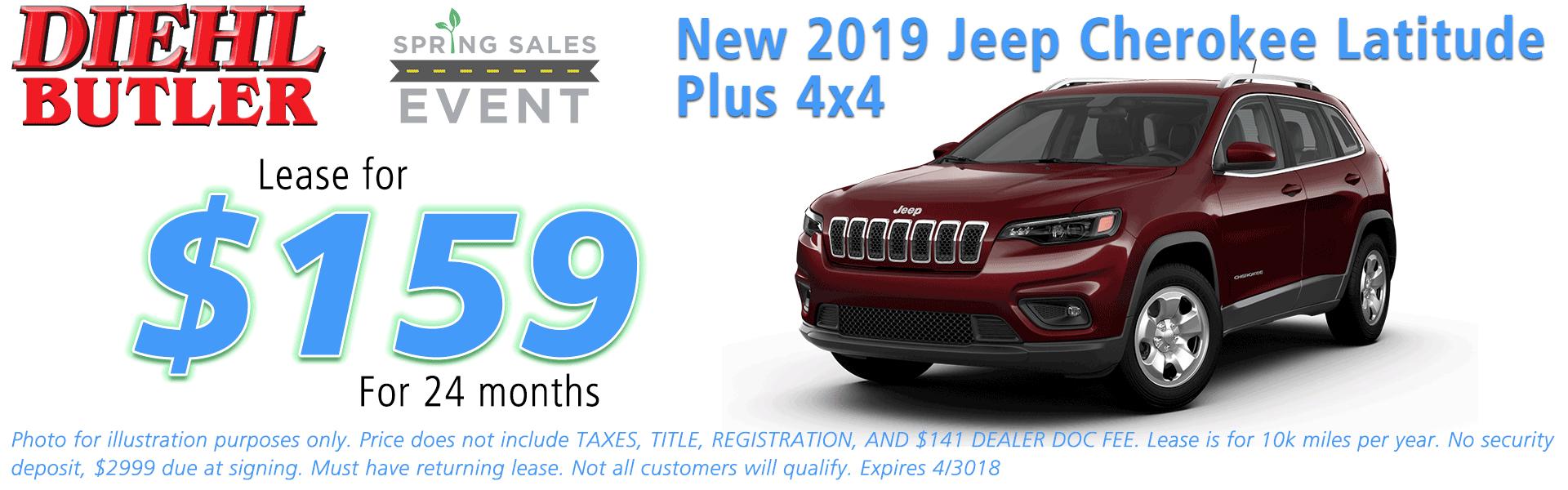 NEW 2019 JEEP CHEROKEE LATITUDE PLUS 4X4 Diehl of Butler Chrysler Jeep Dodge Ram Toyota Volkswagen 258 Pittsburgh Road Butler PA 16002
