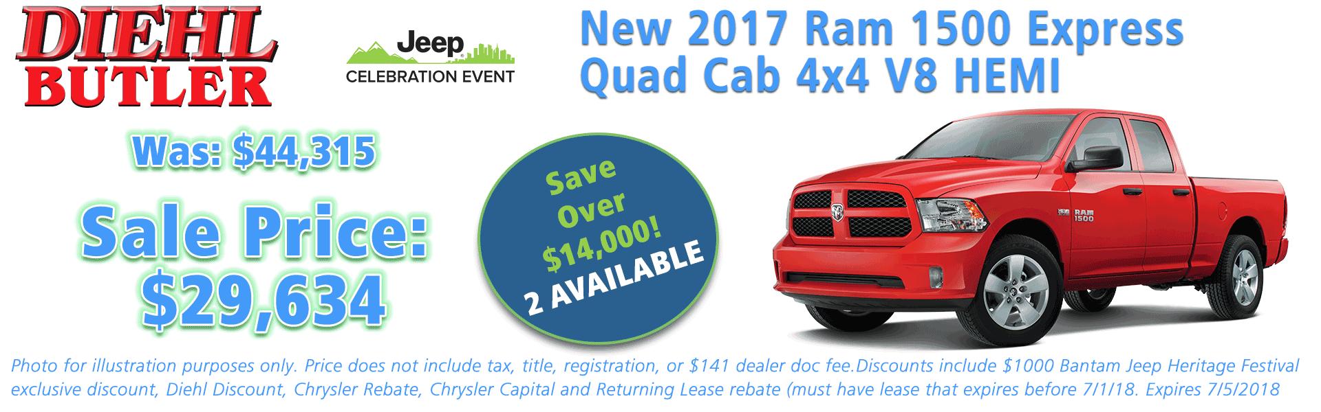 NEW 2017 RAM 1500 EXPRESS CREW CAB 4X4 5'7