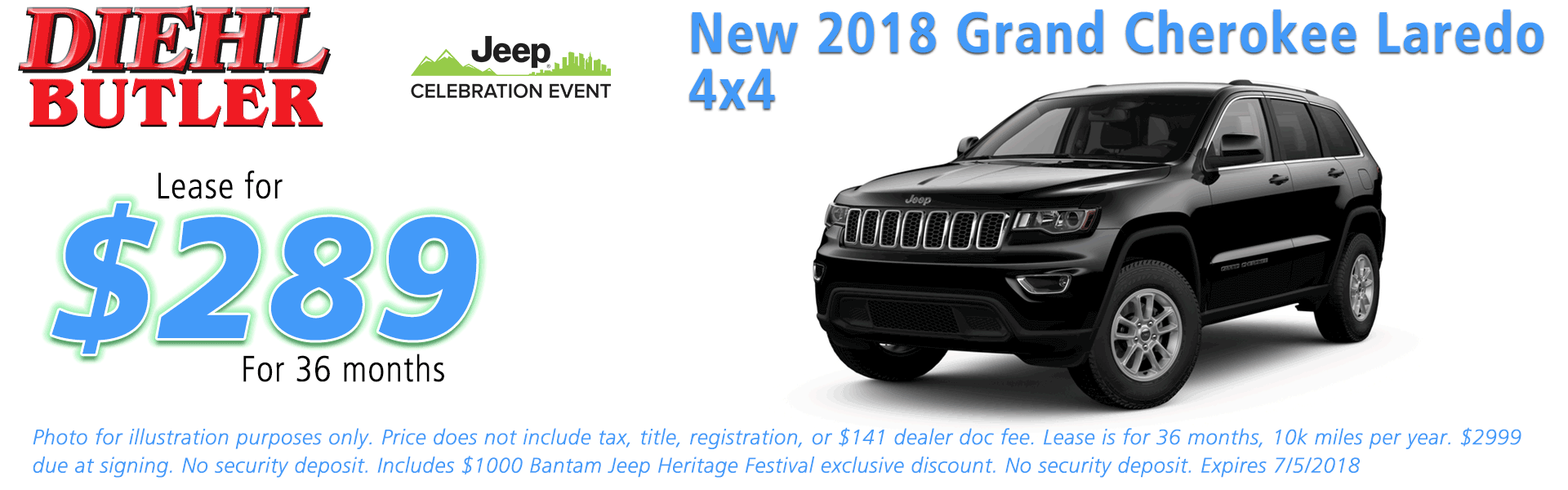 NEW 2018 JEEP GRAND CHEROKEE LAREDO E 4X4 Diehl of Butler, Pennsylvania. Chrysler Jeep Dodge Ram Toyota Volkswagen dealership