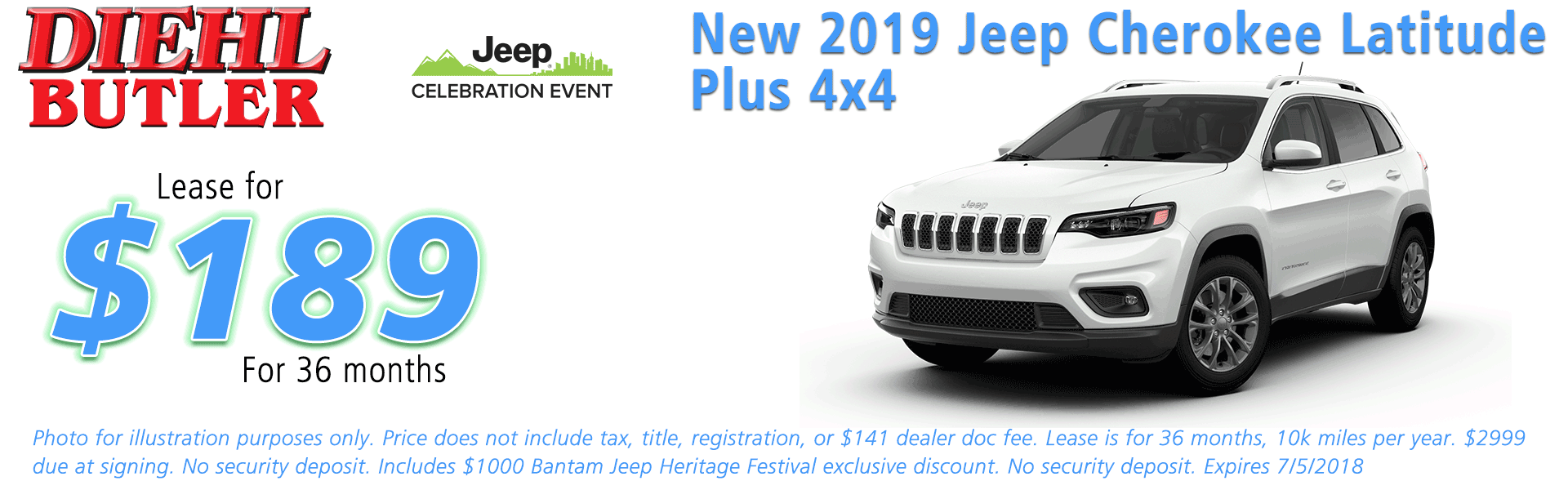 NEW 2019 JEEP CHEROKEE LATITUDE PLUS 4X4 Diehl of Butler, Pennsylvania. Chrysler Jeep Dodge Ram Toyota Volkswagen dealership