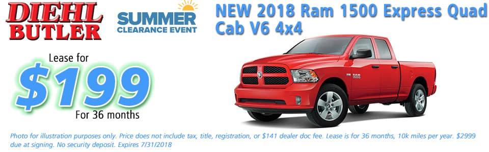 Diehl of Butler, Butler, PA 16002 Chrysler Jeep Dodge Ram Toyota Volkswagen New 2018 Ram 1500 Express QUad Cab V6 4x4