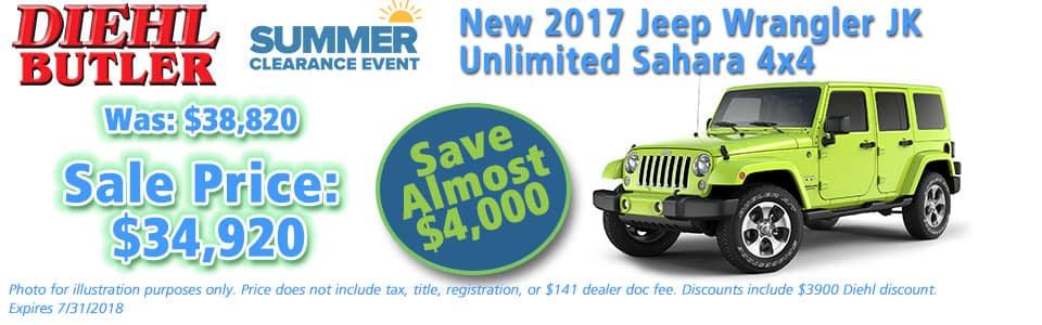 Diehl of Butler, Butler, PA 16002 Chrysler Jeep Dodge Ram Toyota Volkswagen NEW 2017 JEEP WRANGLER UNLIMITED SAHARA 4X4