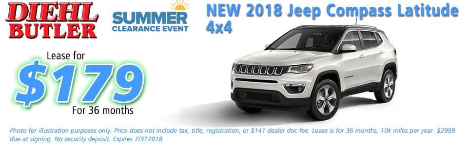 Diehl of Butler, Butler, PA 16002 Chrysler Jeep Dodge Ram Toyota Volkswagen NEW 2018 JEEP COMPASS LATITUDE 4X4