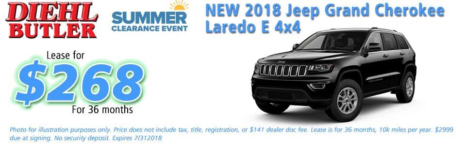 Diehl of Butler, Butler, PA 16002 Chrysler Jeep Dodge Ram Toyota Volkswagen NEW 2018 JEEP GRAND CHEROKEE LAREDO E 4X4