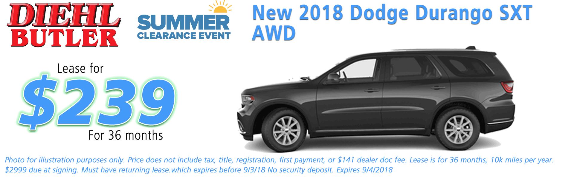 Diehl of Butler, Butler, PA Chrysler Dodge Jeep Ram Toyota Volkswagen service collision sales NEW 2018 DODGE DURANGO SXT PLUS AWD