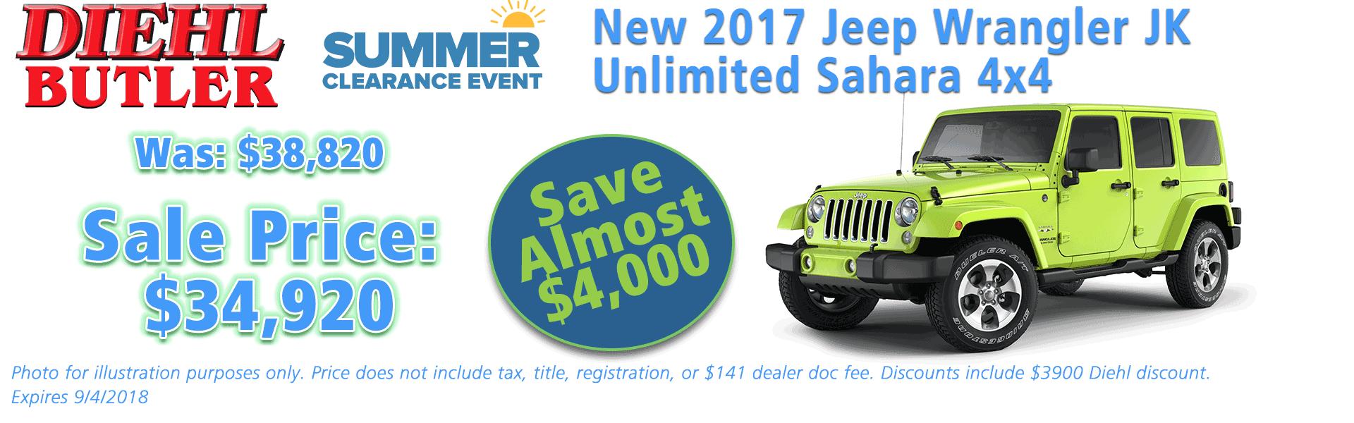 Diehl of Butler, Butler, PA Chrysler Dodge Jeep Ram Toyota Volkswagen service collision sales NEW 2017 JEEP WRANGLER UNLIMITED SAHARA 4X4
