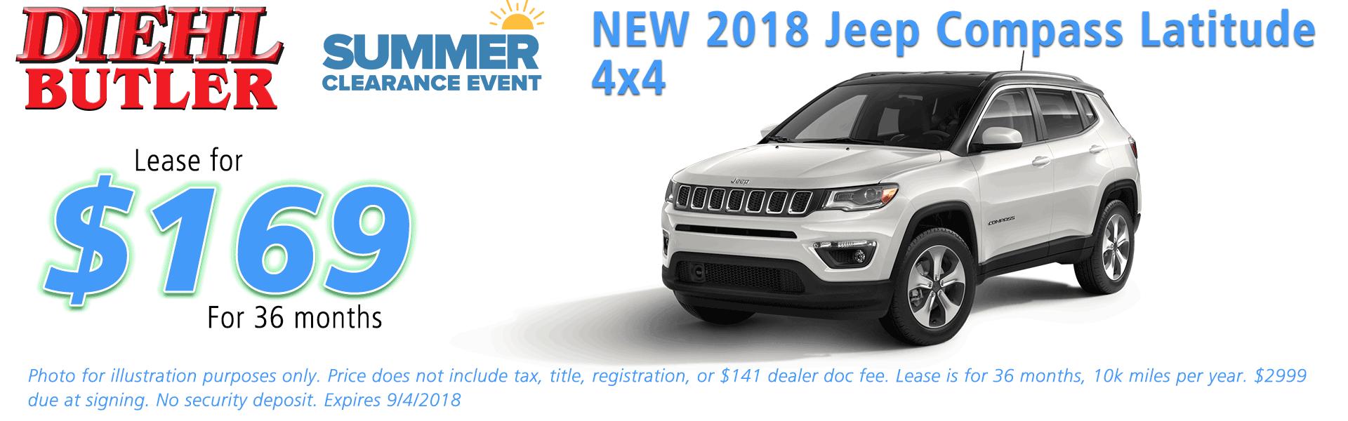 Diehl of Butler, Butler, PA Chrysler Dodge Jeep Ram Toyota Volkswagen service collision sales NEW 2018 JEEP COMPASS LATITUDE 4X4