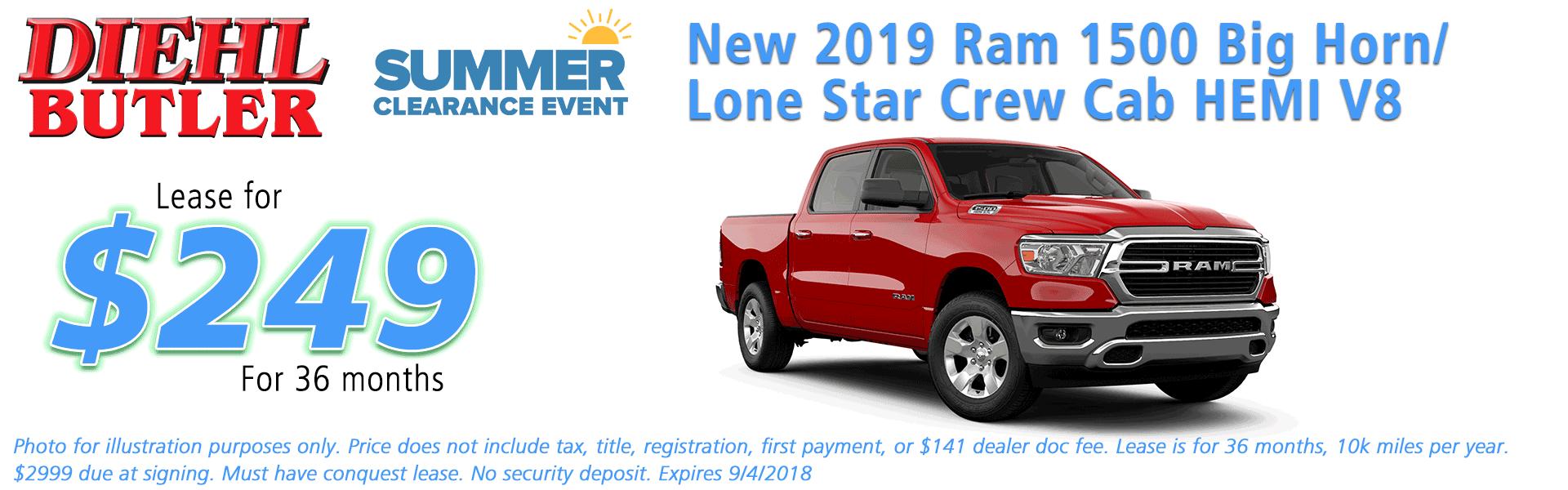 Diehl of Butler, Butler, PA Chrysler Dodge Jeep Ram Toyota Volkswagen service collision sales NEW 2019 RAM 1500 BIG HORN / LONE STAR CREW CAB 4X4 5'7
