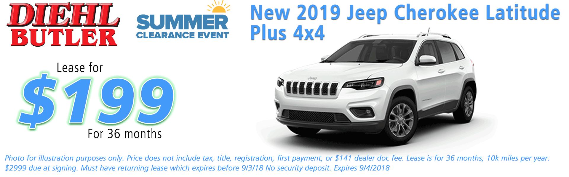 Diehl of Butler, Butler, PA Chrysler Dodge Jeep Ram Toyota Volkswagen service collision sales NEW 2019 JEEP CHEROKEE LATITUDE PLUS 4X4