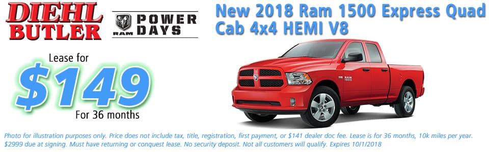 ram specials New vehicle specials Diehl Chrysler dodge jeep ram butler Diehl automotive lease specials new 2018 ram 1500 express quad cab 4x4 hemi v8 ram power days