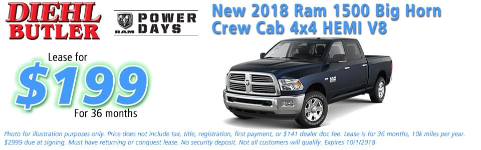 New vehicle specials Diehl Chrysler dodge jeep ram butler ram specials Diehl automotive lease specials ram power days new 2018 ram 1500 big horn crew cab 4x4 hemi v8