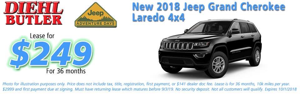 jeep specials New vehicle specials Diehl Chrysler dodge jeep ram butler Diehl automotive lease specials jeep adventure days new 2018 jeep grand cherokee laredo 4x4