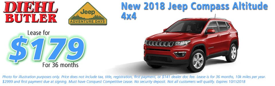 New vehicle specials jeep specials Diehl Chrysler dodge jeep ram butler Diehl automotive lease specials jeep adventure days new 2018 jeep compass altitude 4x4