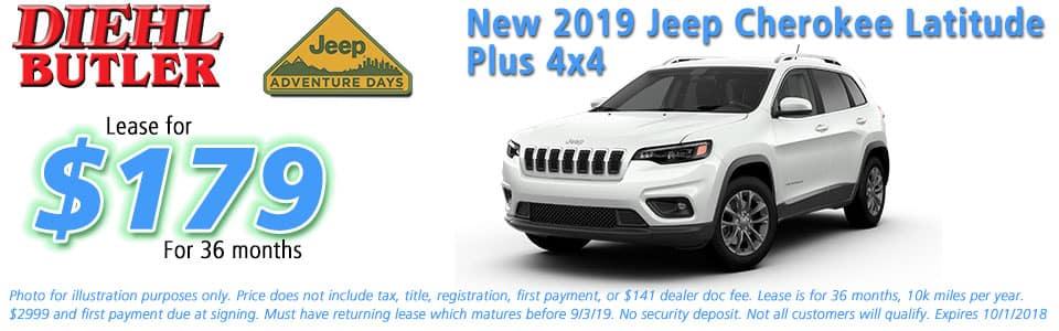 jeep specials New vehicle specials Diehl Chrysler dodge jeep ram butler Diehl automotive lease specials jeep adventure days new 2019 jeep cherokee latitude plus 4x4