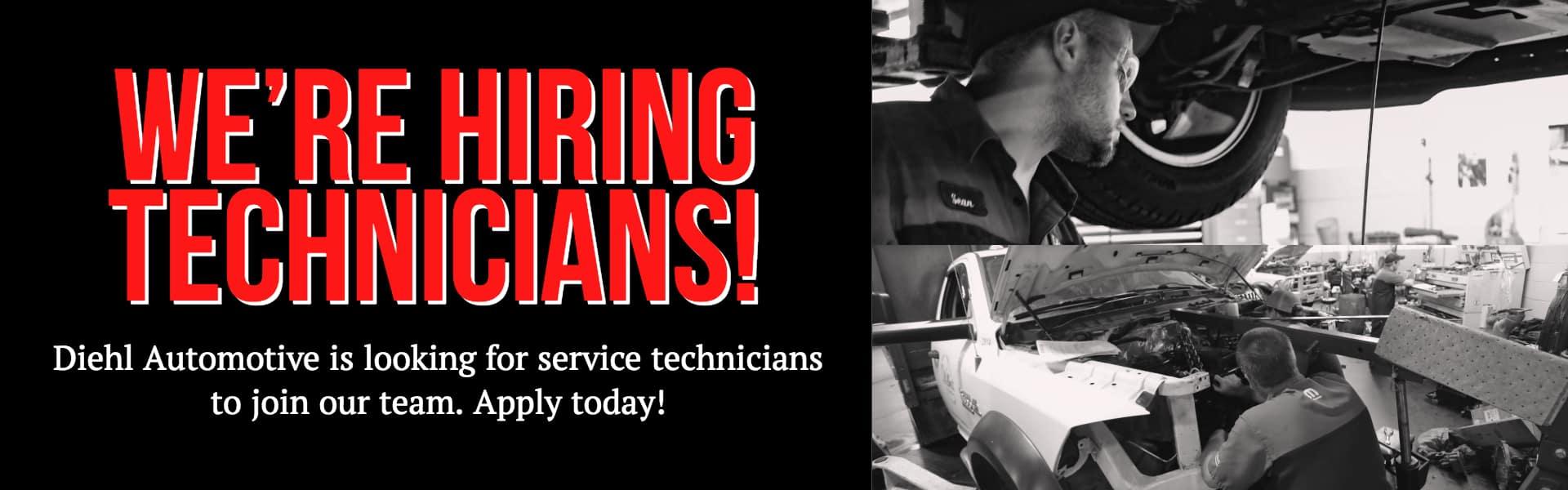 service technician now hiring diehl automotive service tech butler grove city robinson salem ohio jobs pennsylvania jobs now hiring