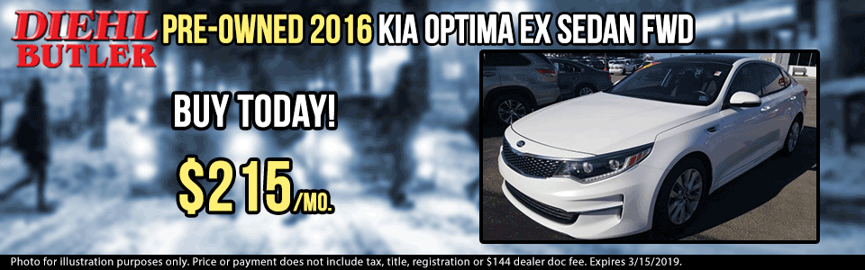 pre-owned vehicle specials used vehicle specials pre-owned specials used specials certified pre-owned diehl automotive group butler pa J180618A pre-owned 2016 kia optima ex sedan