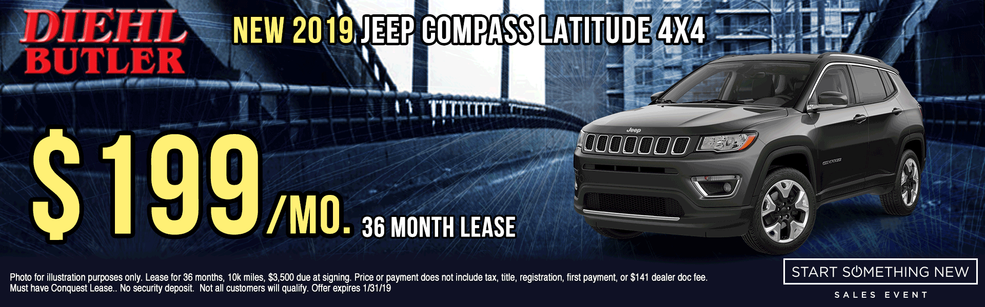 J190911-2019-JEEP-COMPASS-LATITUDE-4X4 Diehl Automotive butler new vehicle specials lease specials Chrysler specials dodge specials jeep specials ram specials wrangler compass Cherokee big horn truck suv offload start something new sales event butler specials