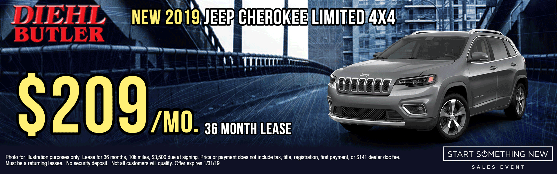 J191015-2019-JEEP-CHEROKEE-LMITED-4X4 Diehl Automotive butler new vehicle specials lease specials Chrysler specials dodge specials jeep specials ram specials wrangler compass Cherokee big horn truck suv offload start something new sales event butler specials