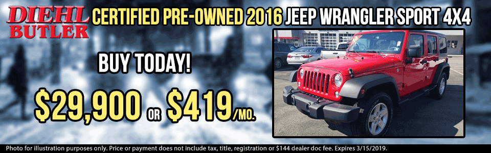 pre-owned vehicle specials used vehicle specials pre-owned specials used specials certified pre-owned diehl automotive group butler pa certified pre-owned 2016 jeep wrangler sport T1808108A