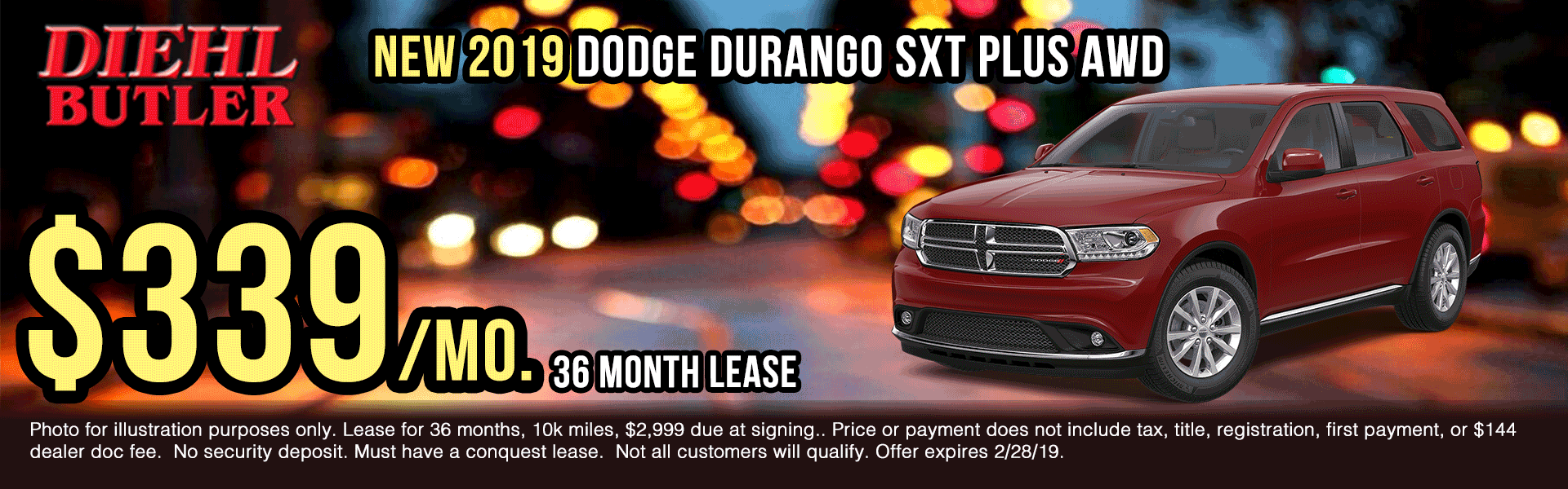 D190106-2019-dodge-durango-sxt-plus New vehicle specials Diehl Automotive Diehl Butler Diehl of Butler specials truck specials ram specials jeep specials Chrysler specials dodge specials lease specials ram truck month presidents day sales event