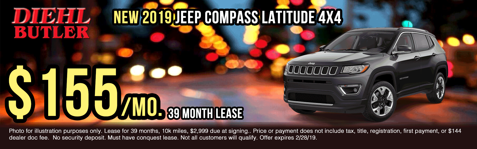 J190907-2019-jeep-compass-latitude New vehicle specials Diehl Automotive Diehl Butler Diehl of Butler specials truck specials ram specials jeep specials Chrysler specials dodge specials lease specials ram truck month presidents day sales event