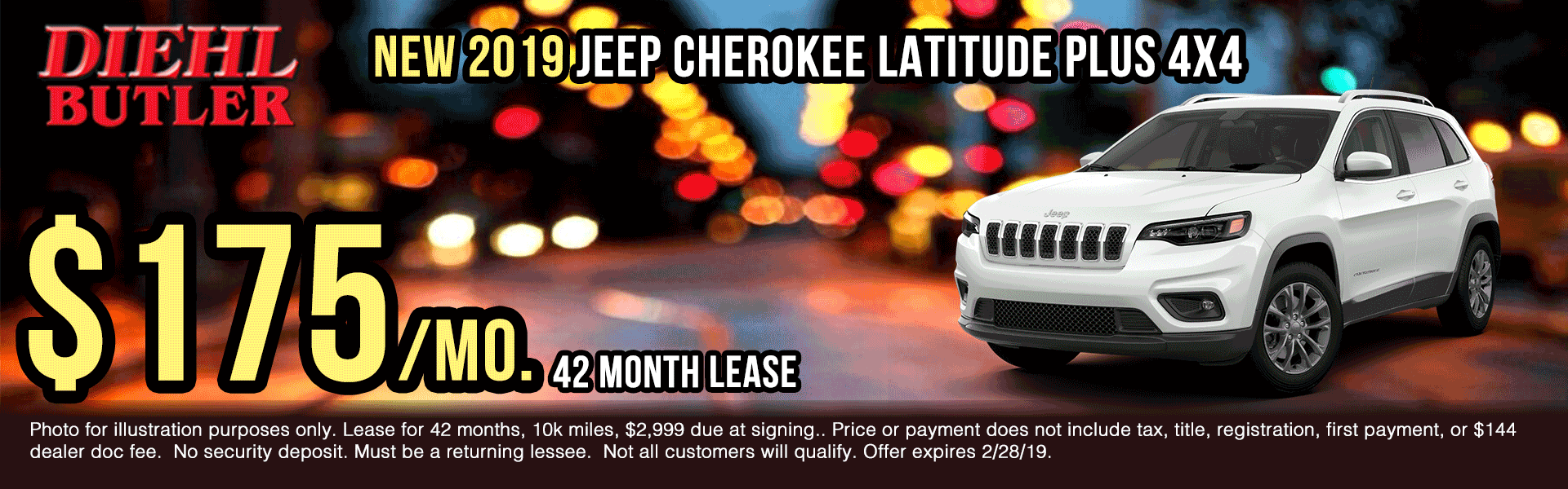 J191229-jeep-cherokee-latitude-plus New vehicle specials Diehl Automotive Diehl Butler Diehl of Butler specials truck specials ram specials jeep specials Chrysler specials dodge specials lease specials ram truck month presidents day sales event