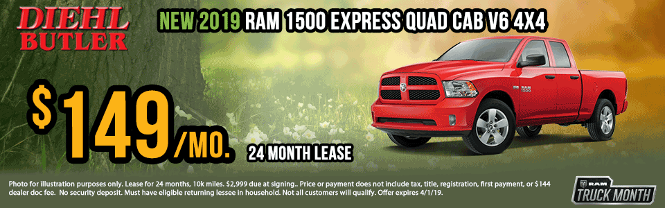 """Diehl of Butler. Chrysler Jeep Dodge Ram Toyota Volkswagen. Butler, PA. New and Used sales, service, body shop, reconditioning, parts and accessories. NEW 2019 RAM 1500 CLASSIC EXPRESS QUAD CAB® 4X4 6'4"""" BOX"""