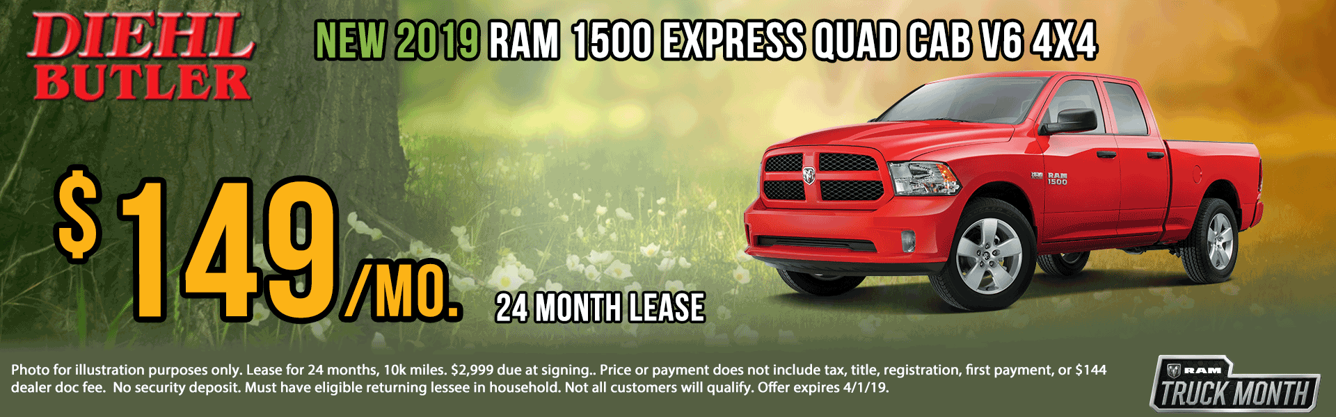Diehl of Butler. Chrysler Jeep Dodge Ram Toyota Volkswagen. Butler, PA. New and Used sales, service, body shop, reconditioning, parts and accessories. NEW 2019 RAM 1500 CLASSIC EXPRESS QUAD CAB® 4X4 6'4