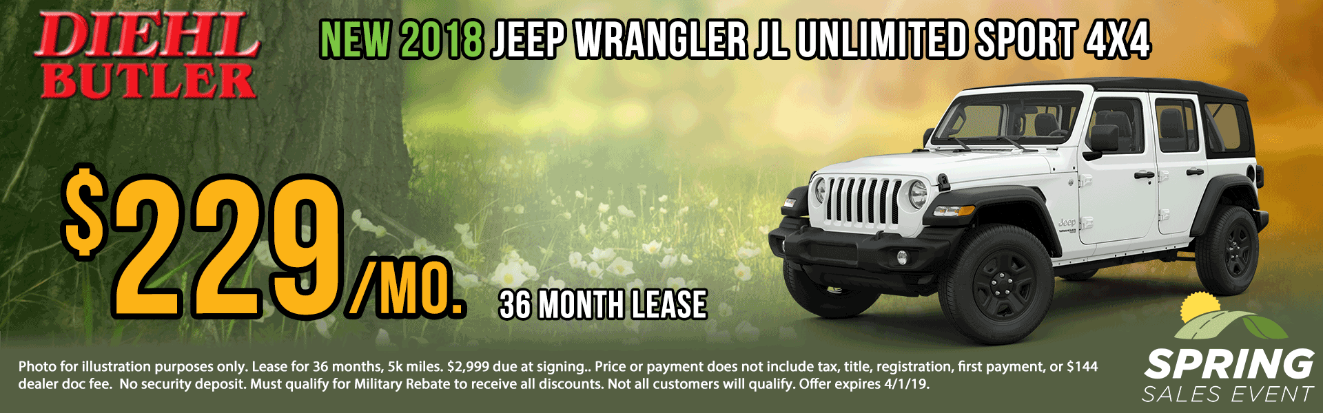 Diehl of Butler. Chrysler Jeep Dodge Ram Toyota Volkswagen. Butler, PA. New and Used sales, service, body shop, reconditioning, parts and accessories. NEW 2018 JEEP WRANGLER UNLIMITED SPORT S 4X4