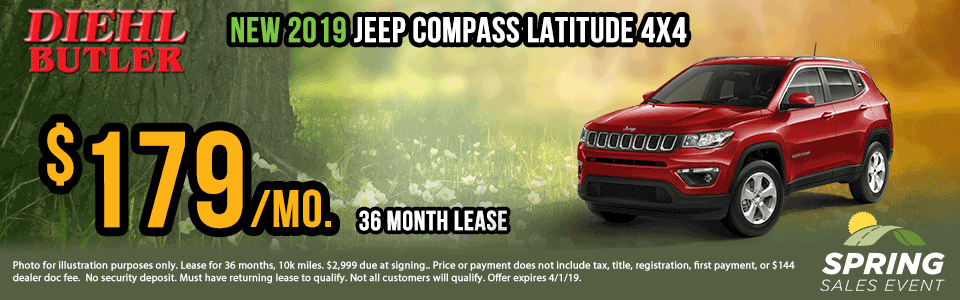 Diehl of Butler. Chrysler Jeep Dodge Ram Toyota Volkswagen. Butler, PA. New and Used sales, service, body shop, reconditioning, parts and accessories. NEW 2019 JEEP COMPASS LATITUDE 4X4