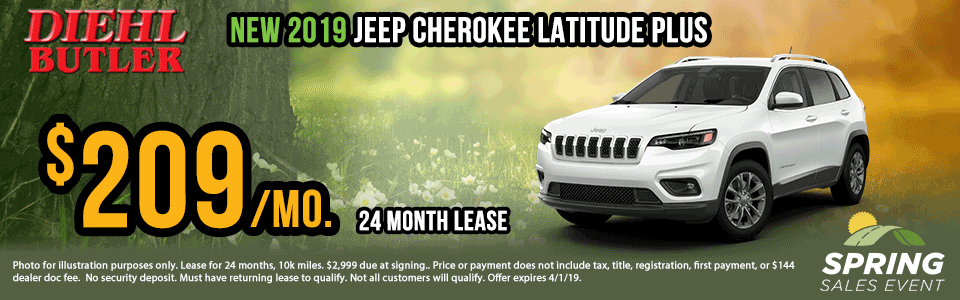 Diehl of Butler. Chrysler Jeep Dodge Ram Toyota Volkswagen. Butler, PA. New and Used sales, service, body shop, reconditioning, parts and accessories. NEW 2019 JEEP CHEROKEE LATITUDE PLUS 4X4