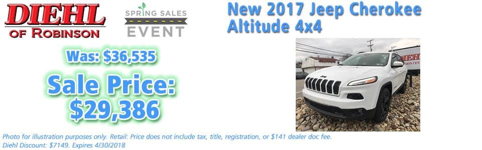 NEW 2017 JEEP CHEROKEE HIGH ALTITUDE 4X4  Diehl of Robinson Chrysler Jeep Dodge Ram 6181 Steubenville Pike, Robinson Township, PA 15136