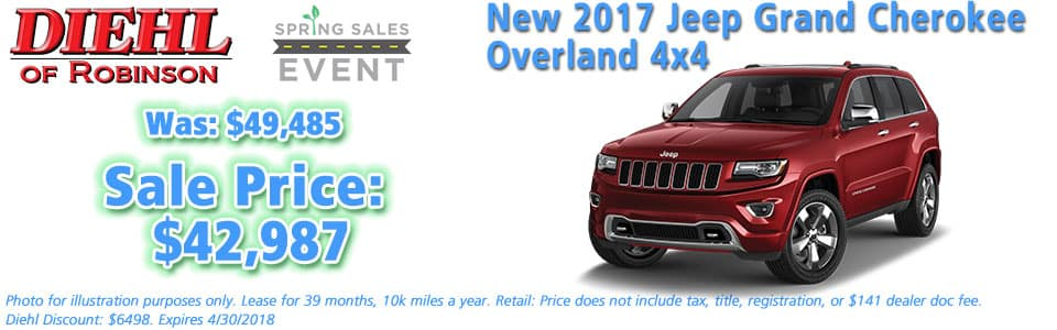 NEW 2017 JEEP GRAND CHEROKEE OVERLAND 4X4 Diehl of Robinson Chrysler Jeep Dodge Ram 6181 Steubenville Pike, Robinson Township, PA 15136