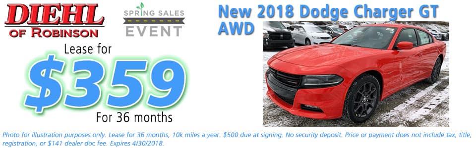 NEW 2018 DODGE CHARGER GT AWD Diehl of Robinson Chrysler Jeep Dodge Ram 6181 Steubenville Pike, Robinson Township, PA 15136