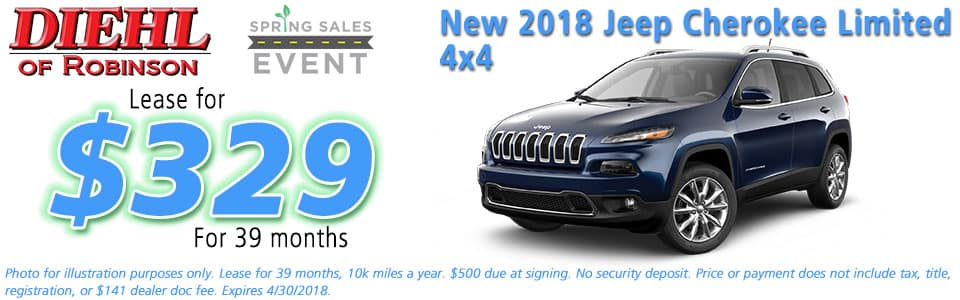 NEW 2018 JEEP CHEROKEE LIMITED 4X4 Diehl of Robinson Chrysler Jeep Dodge Ram 6181 Steubenville Pike, Robinson Township, PA 15136