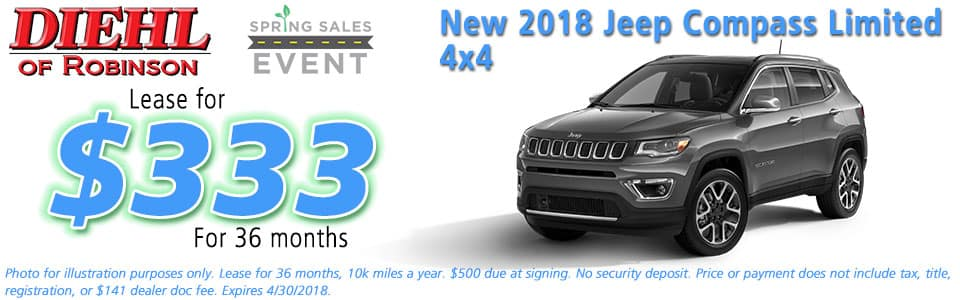 NEW 2018 JEEP COMPASS LIMITED 4X4 Diehl of Robinson Chrysler Jeep Dodge Ram 6181 Steubenville Pike, Robinson Township, PA 15136