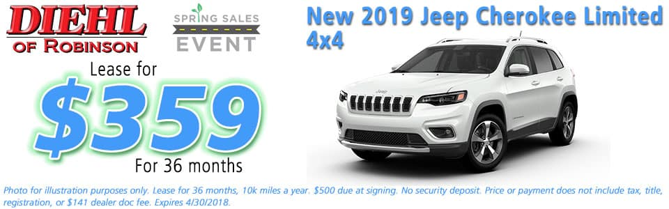 NEW 2019 JEEP CHEROKEE LIMITED 4X4  Diehl of Robinson Chrysler Jeep Dodge Ram 6181 Steubenville Pike, Robinson Township, PA 15136