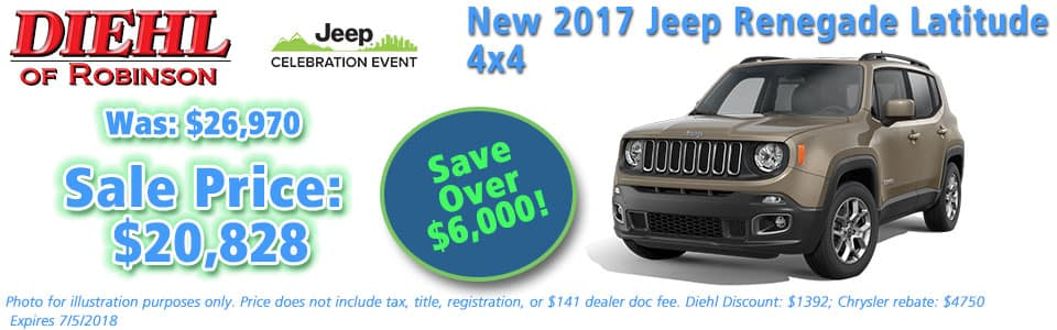 NEW 2017 JEEP RENEGADE LATITUDE 4X4 Diehl of Robinson Township, Pittsburgh Pennsylvania. Chrysler Jeep Dodge Ram dealership.