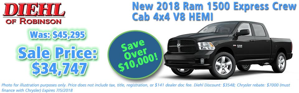 "NEW 2018 RAM 1500 EXPRESS CREW CAB 4X4 5'7"" BOX Diehl of Robinson Township, Pittsburgh Pennsylvania. Chrysler Jeep Dodge Ram dealership."